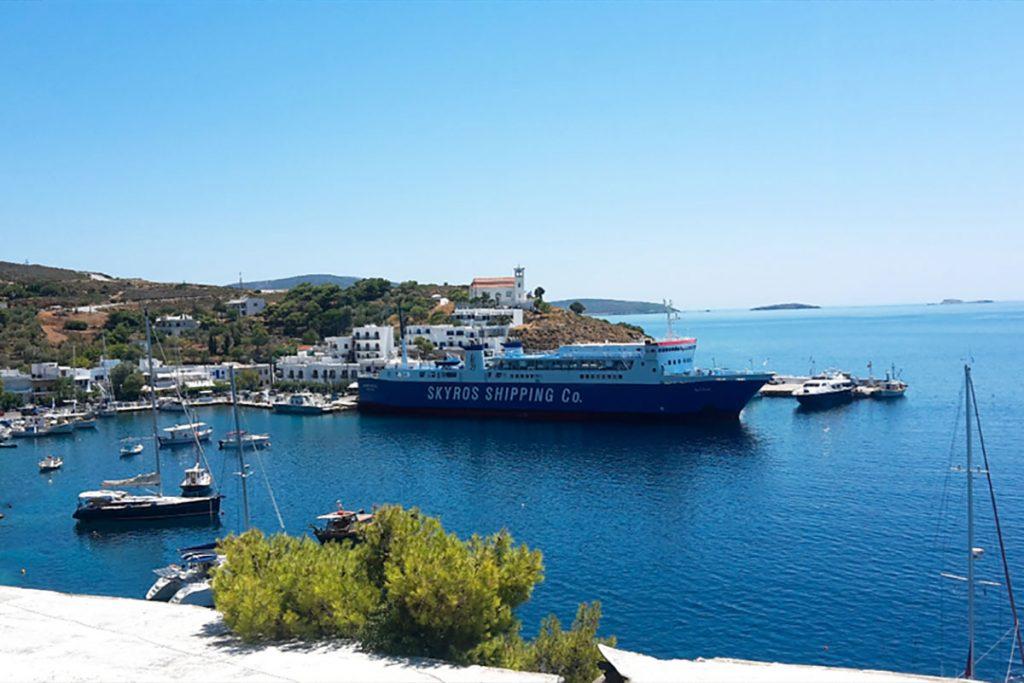 Voyageant à l'île de Skyros